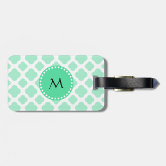 Monogram Magic Mint and White Quatrefoil Pattern Luggage Tag
