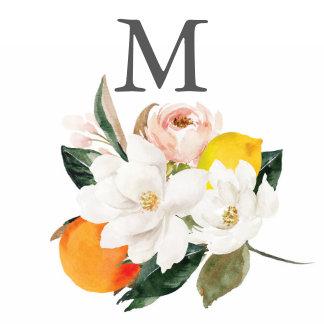 Monogram Magnolia Citrus Wedding Cocktail Napkin
