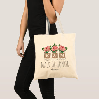 MONOGRAM MAID OF HONOR | MASON JAR WEDDING TOTE BAG