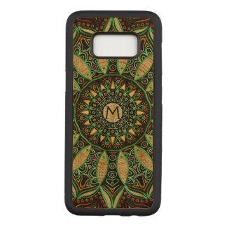 Monogram Mandala Dark Wood Carved Samsung Galaxy S8 Case
