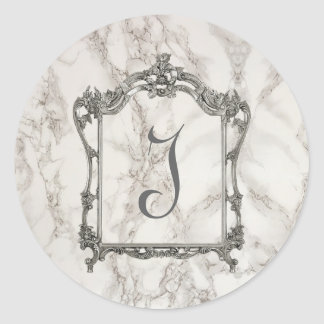 Monogram, Marble Effect. Classic Round Sticker