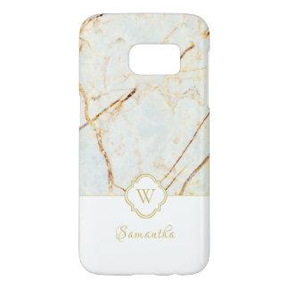 Monogram Marble Elegant White Gold Galaxy S7 Case