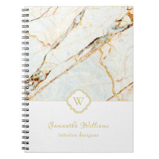 Monogram Marble Elegant White Gold Notebook