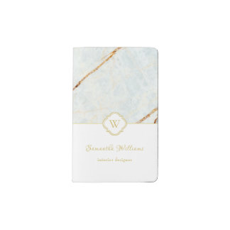 Monogram Marble Elegant White Gold Pocket Notebook