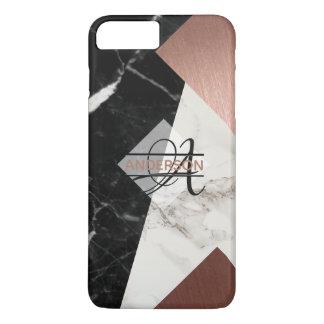 Monogram Marble Rose Gold Black Grey Geometric iPhone 8 Plus/7 Plus Case