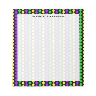 Monogram Mardi Gras Green, Yellow, Purple Beads Notepad