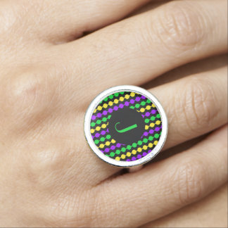Monogram Mardi Gras Green Yellow Purple Beads Ring