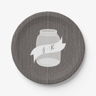 Monogram Mason Jar + Barnwood Wedding 7 Inch Paper Plate