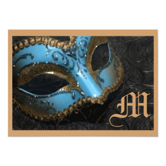 Monogram Masquerade Renaissance Wedding Invitation