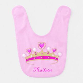 Monogram Matte Gold, Pink, White Princess Crown Bib