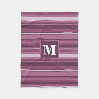 Monogram mauve stripes fleece blanket