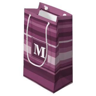 Monogram mauve stripes small gift bag