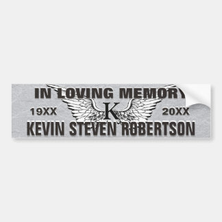 Monogram Memorial Angel Wings Bumper Sticker