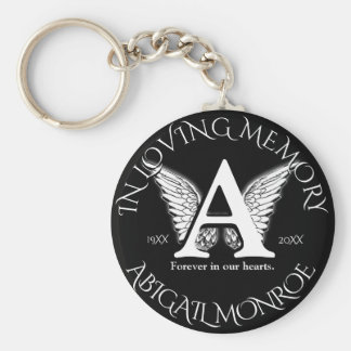 Monogram | Memorial Basic Round Button Keychain