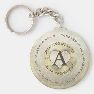 Monogram | Memorial | Gold Heart Keychain