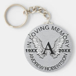 Monogram | Memorial | Silver Angel Wings Basic Round Button Keychain