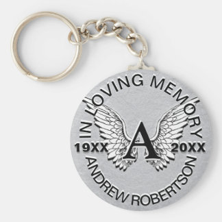 Monogram | Memorial | Silver Angel Wings Keychain