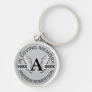 Monogram | Memorial | Silver Angel Wings Silver-Colored Round Keychain