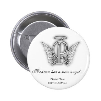 Monogram Memorial Tribute Letter P 2 Inch Round Button