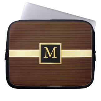 Monogram - Men's Executive Wood Laptop Skin Laptop Computer Sleeve