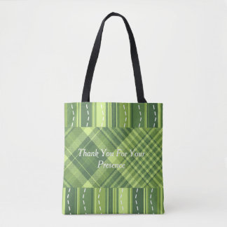 Monogram Message  Green Check Stripe Tote