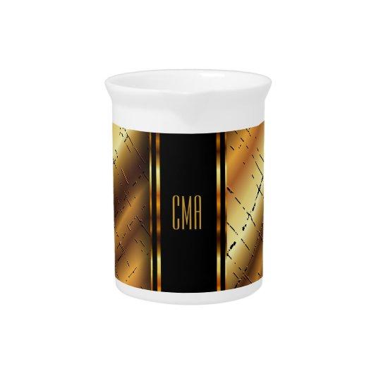 Monogram Metallic Gold and Black Crackled Design Pitcher