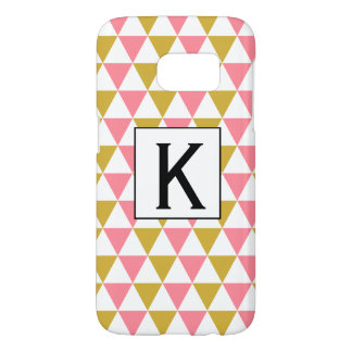 Monogram Metallic Gold and Pink Triangles Samsung Galaxy S7 Case