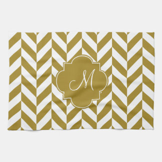 Monogram Metallic Gold Herringbone Pattern Kitchen Towel