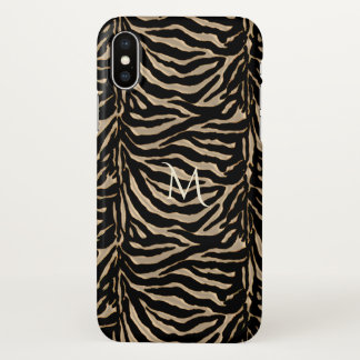 Monogram Metallic Gold Zebra Animal iPhone X Case