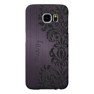Monogram Metallic Purple Black Lace Accents Samsung Galaxy S6 Cases