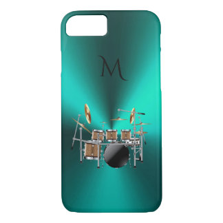 Monogram Metallic Teal Drums Music iPhone 7 Case