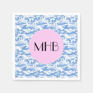 Monogram - Military Camouflage Pattern - Blue Napkin