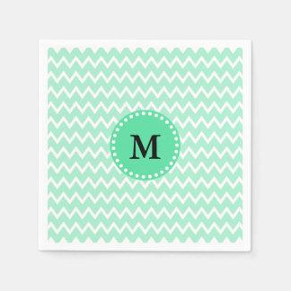 Monogram Mint Green and White Chevron Pattern Disposable Napkins
