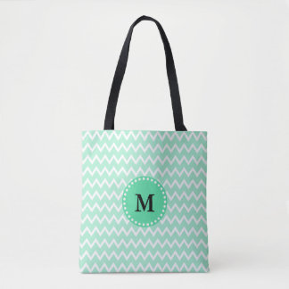 Monogram Mint Green and White Chevron Pattern Tote Bag