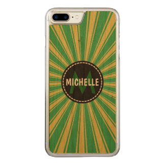 Monogram Mint Green Funky Sun Rays Pattern Carved iPhone 7 Plus Case