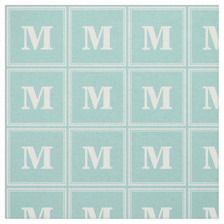Monogram mint green stripes fabric