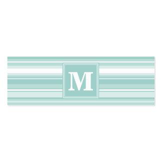 Monogram mint green stripes mini business card
