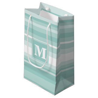Monogram mint green stripes small gift bag