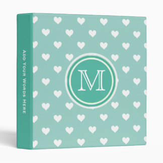 Monogram: Mint Green White Heart Chevron Binder