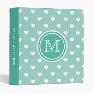 Monogram: Mint Green White Heart Chevron Binder