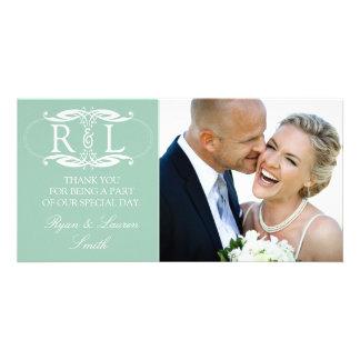 Monogram Mint Wedding Photo Thank You Cards Photo Card