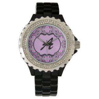 Monogram Mod Pink Mauve Pattern Watches