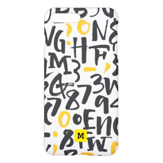 Monogram. Modern Black and Yellow Typography. iPhone 8 Plus/7 Plus Case