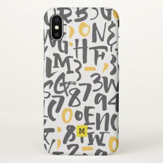Monogram. Modern Black and Yellow Typography. iPhone X Case