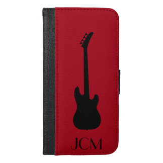 Monogram Modern Black Bass Guitar on Dark Red iPhone 6/6s Plus Wallet Case