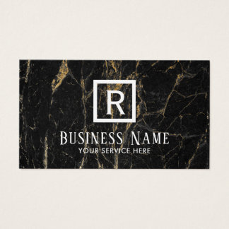 Monogram Modern Black & Gold Marble Texture Business Card