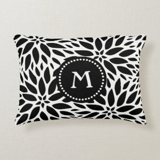 Monogram Modern Black & White Dahlia Accent Pillow