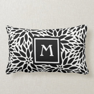 Monogram Modern Black & White Dahlia Lumbar Pillow