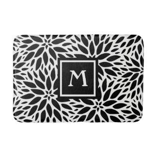 Monogram Modern Black & White Dahlias Bath Mat