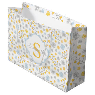 Monogram Modern Blue Yellow & Gray Gift Bag
